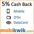 Get 5% Cashback on Mobile, DTH and DataCard Recharge at Mobiwik