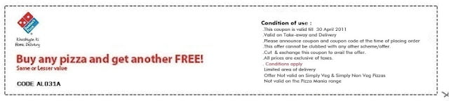 [Deal Expired]Domino's Buy one get one pizza free coupon