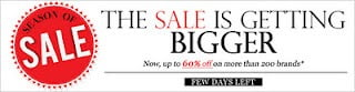 Season off sale. Up to 60% off on over 200 brands at Myntra