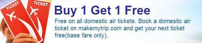 Buy 1 Get 1 On Domestic Flight Tickets @ MakeMyTrip