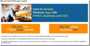 Free Microsoft Certification of HTML5 with JavaScript and CSS3