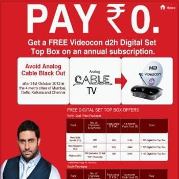 Free Videocon D2H Digitel Set Top Box on an annual subscription