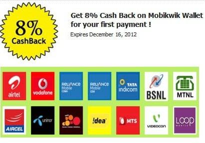 8% Cashback on Mobile Recharge at Mobikwik.com