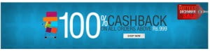 100% cashback on order above Rs.999 at Myntra