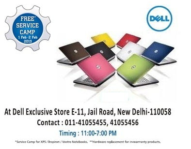 Delhi NCR only- Free Service for Dell Laptops [Inspiron, XPS & Vostro systems]