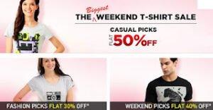 Myntra Biggest Weekend Sale- Flat 50% Discount on Men / Women T-Shirts
