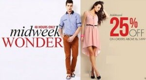 Mid Week Wonder: Flat 25% Additional Discount on Purchase of Men's / Women's Fashion Style