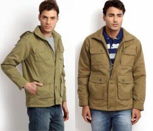 Duke Men Olive Green Jacket & Duke Men Khaki Jacket