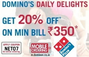 Flat 20% Off on Purchase of Domino's Pizza worth Rs.350 or above