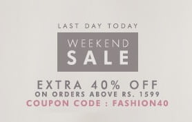 (Last Day) Flat 40% Off on Clothing, Footwear & Accessories @ Myntra (Valid on Min Cart Value Rs.1599) For Today Only