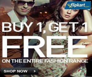 Buy 1 Get 1 Free Offer on Men's / Women's Entire Fashion Range @ Flipkart