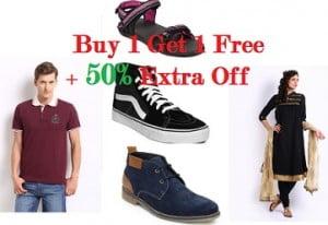 Myntra: Buy 1 Get 1 Free or Buy 2 Get 1 Free + Extra 50% Off on Men's / Women's Clothing, Footwear & Accessories