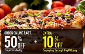 Dominos: Get Flat 50% Discount on Pizzas + 10% Extra on payment thru PayUMoney-  Valid till 21st Sep'14 (11 AM to 5 PM) Min Billing Rs.350