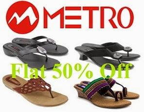 Minimum 50% Off on Women's Metro Footwear (Flats, Heels) @ Amazon