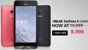 Flat Rs.1000 Off – Asus Zenfone 5 A501CG (16GB, 2 GB RAM, 1.6 GHz Intel Processor, 5″ Display) for Rs.8999 Only @ Flipkart