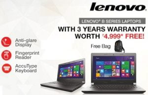 Peace of Mind Offer on Select Lenovo Laptops: Get 1 Year + Extra 2 years warranty worth INR 4999 absolutely FREE @ Flipkart