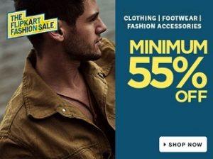 Minimum 55% Off on Clothing   Footwear   Bags Belts & Wallets   Perfumes   Toys & School supplies@ Flipkart