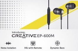Creative EP-600M In Ear Earphones with Mic worth Rs.799 for Rs.525
