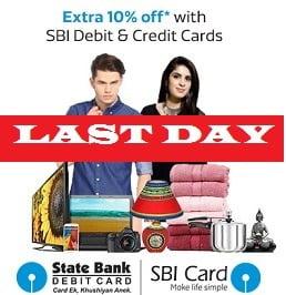 Flipkart & State Bank of India Offer: Get Extra 10% Off for SBI Credit / Debit Card Holders (Valid on All Platform till 09th March'16)