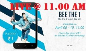 Get Honor BEE Smart Phone just for Rs.1 Only to First 50 Customer Everyday (Offer Valid from 8th to 10th April'16 @11 AM)