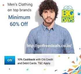 Top Brand Men's Clothing (Puma, Reebok, Adidas, UCB, Lee, Levis & more) – Flat 60% – 75% Off @ Flipkart