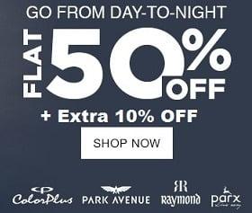 Raymond Group Clothing Sale (Park Avenue, Parx, Raymond, Color Plus) – Flat 50% + Extra 10% Off @ Jabong