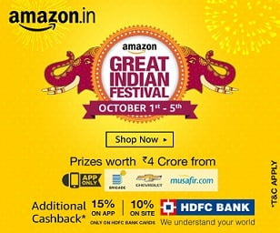 UPDATED – Amazon's Great Indian Festive Sale #BadeDilWale – (1st Oct to 5th Oct'16)