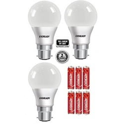 Eveready 9W-100 Lumens Pack of 3 LED Bulb With 6 Pcs Free Battery for Rs.299 @ Snapdeal (Free Home Delivery)