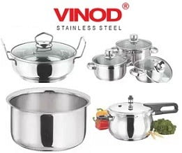 High Quality Vinod Stainless Steel Cookware at High Discount @ Amazon