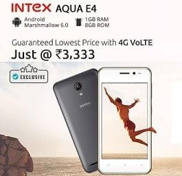 Intex Aqua E4 (4G VoLTE, 1GB RAM, 8GB ROM, Android v 6.0 Marshmallow) Mobile Phone for Rs. 3166 + Rs.267 Cashback @ Shopclues