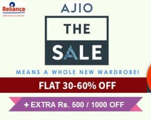 The Handpicked Sale @ AJIO: Upto 60% Off + Extra Rs.500 off on Rs.1999 or more   Extra Rs.1000 off on Rs.2999 or more