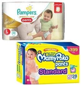 Baby Diapers (Mamy Poko Huggies & Pampers) – Min 40% off @ Flipkart