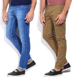 Men's Branded Jeans & Trousers under Rs.799 + 10% extra off @ Flipkart