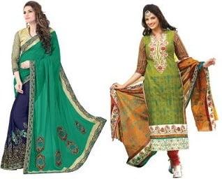 Women's Clothing – Sarees, Kurti & Dress Material – Minimum 90% Off @ Flipkart