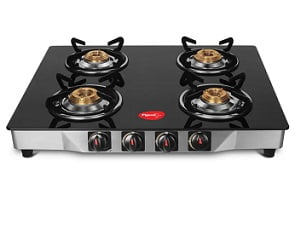 Pigeon Ultra Glass, Stainless Steel Gas Stove 4 Burners for Rs.2999 @ Flipkart