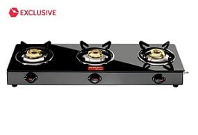 Surya Accent 3 Burner Glass Manual Gas Stove worth Rs.5,500 for Rs.1997 @ Snapdeal