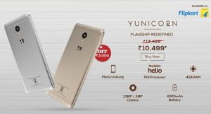 Yu Yunicorn Mobile Phone (4G LTE, 4GB RAM, 32 GB ROM, 5.5″) – Now just for Rs.5,999 @ Flipkart