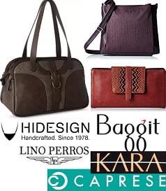 Women's Top Brand Handbags (Caprese, Baggit, Kara, Hidesign) – Min 40% Off @ Amazon