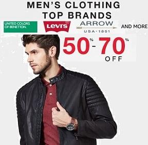 Top Brands Men's Clothing Flat 50% – 70% Off – Amazon