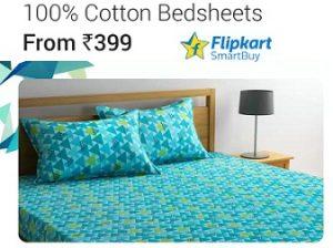 Flipkart Smartbuy 100% Cotton Double Bedsheet starts Rs.399