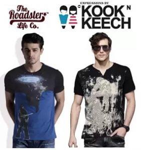 Steal Deal: Kook N Keech and Roadster Men's T-Shirts Flat 60% – 70% starts Rs.174 – Flipkart