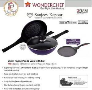 Wonderchef Diamond Cookware Set  (Aluminium, 4 – Piece) for Rs.999 only – Flipkart