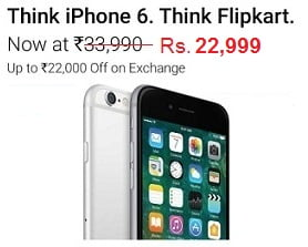 Apple iPhone 6 (Space Grey, 16 GB) – Flat Rs.13,991 Off for Rs. 22,999 @ Flipkart (Lowest Price Offer)