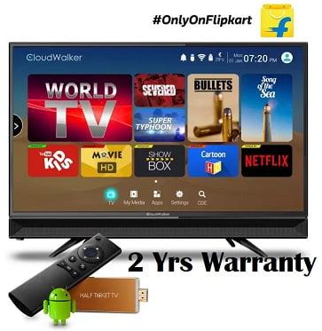 CloudWalker 23.6″ Cloud TV for Rs. 9998 + Free Streaming Device worth Rs.3399 – Flipkart