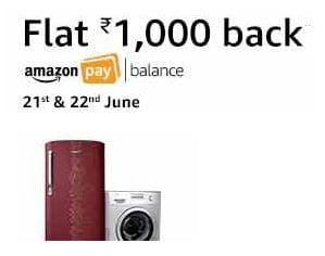 Buy AC, Refrigerator, Washing Machine, Microwave & Get Rs.1,000 Cashback – Amazon