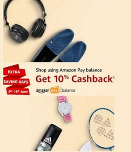 Amazon: 10% Cashback on Minimum Rs.300 worth purchase using Amazon Pay Balance (Valid till 13th June)