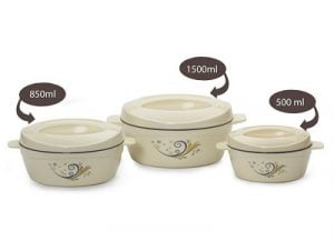 Cello Cuisine Insulated Casserole Gift Set, 3-Pieces, Ivory for Rs.469 – Amazon