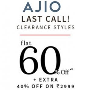Clothing, Footwear, Accessories – Flat 60% off + Extra 40% off @ AJIO