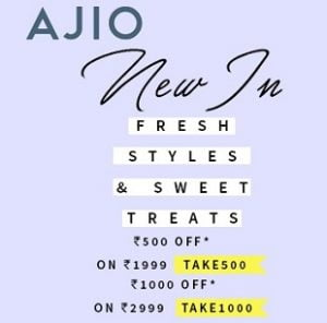 Clothing, Footwear, Accessories – Upto 60% off + Extra Rs.500 off on Rs.1999 & Extra Rs.1000 off on Rs.2999 @ AJIO