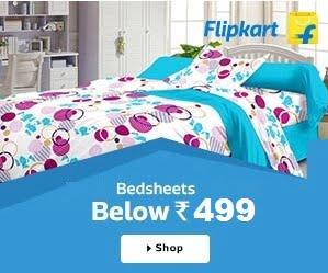 Premium Quality Cotton Double Bedsheets below Rs.499 + 20% Cashback @ Flipkart
